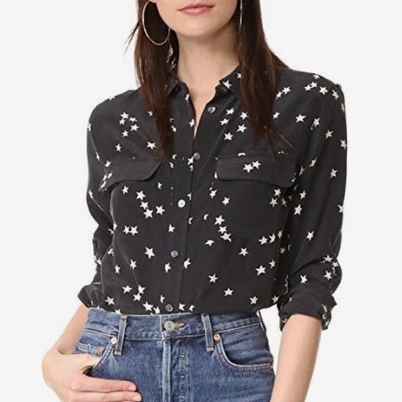 7b2933aa4b59e Equipment Tops - Equipment silk star print black button down blouse